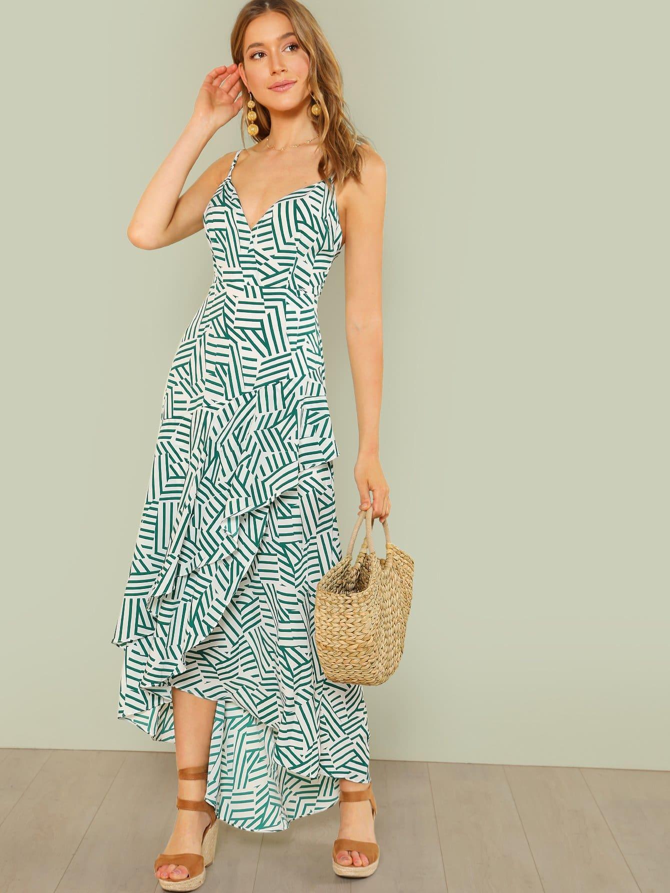 Купить Сломанная полоса для печати Ruffle Maxi Dress, null, SheIn
