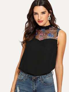Frilled Collar Embroidered Mesh Shoulder Top
