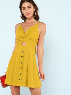 Twist Front Fit & Flare Cami Dress