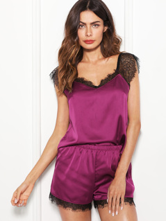 Lace Trim Satin Cami & Shorts Pajama Set