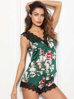 Lace Trim Floral Satin Cami & Shorts PJ Set