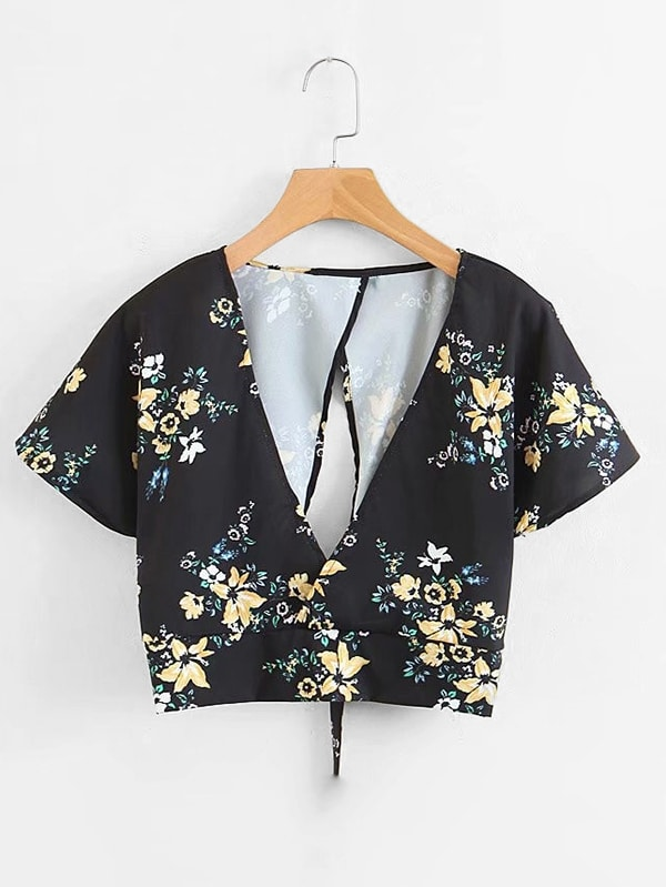 Florals Overlap Back Tie Back Crop Top lace shoulder tie back crop top