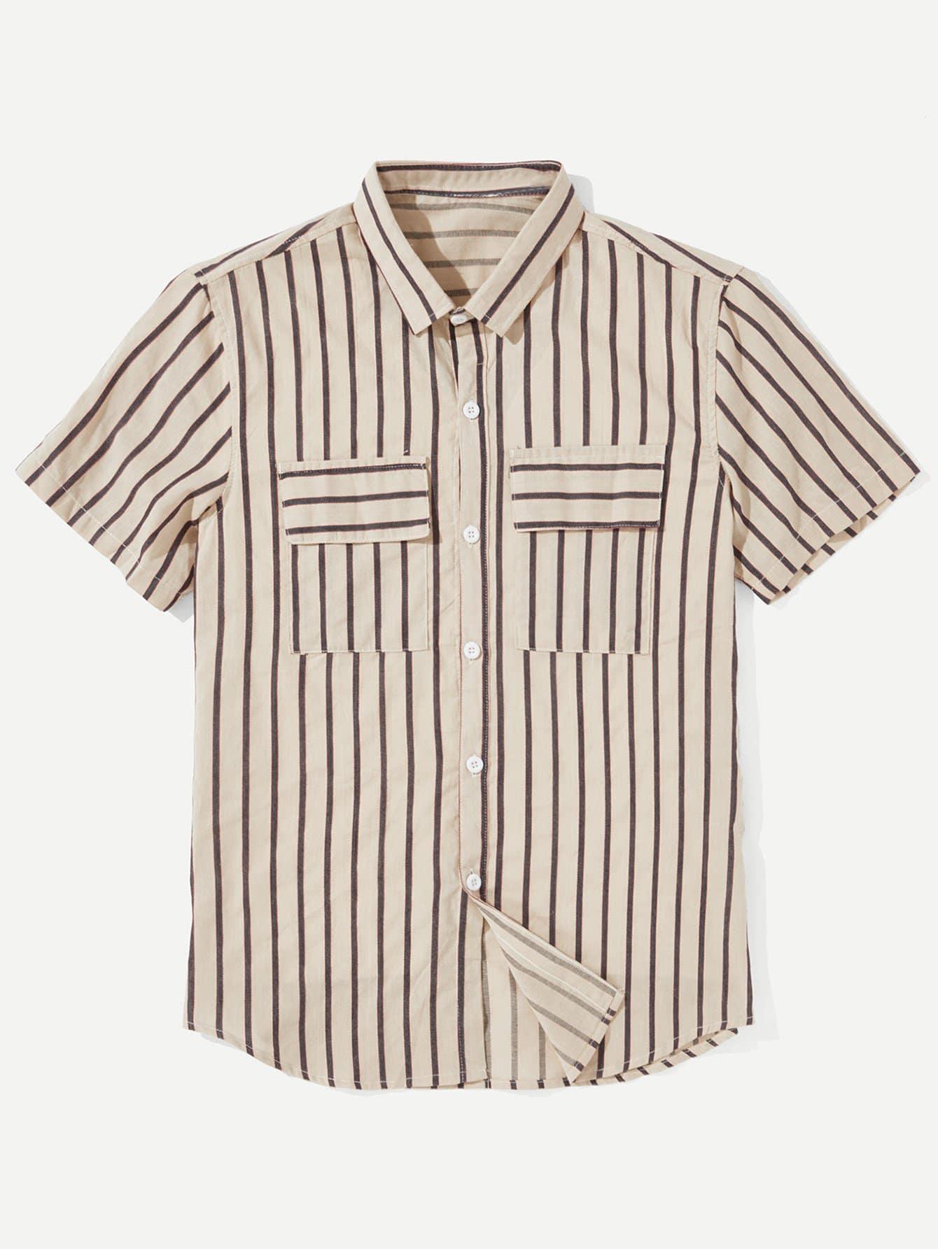 Men Flap Pocket Striped Shirt