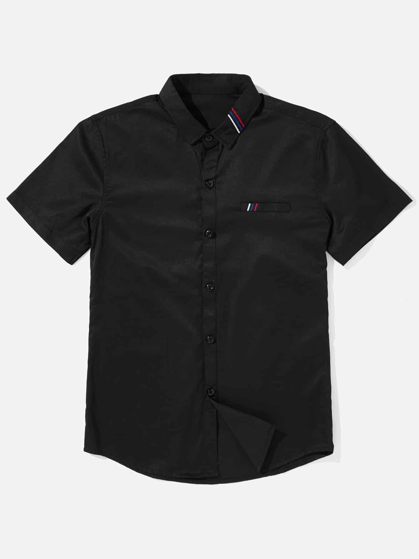 Купить Рубашка с вышивкой и полосками для мужчин, null, SheIn