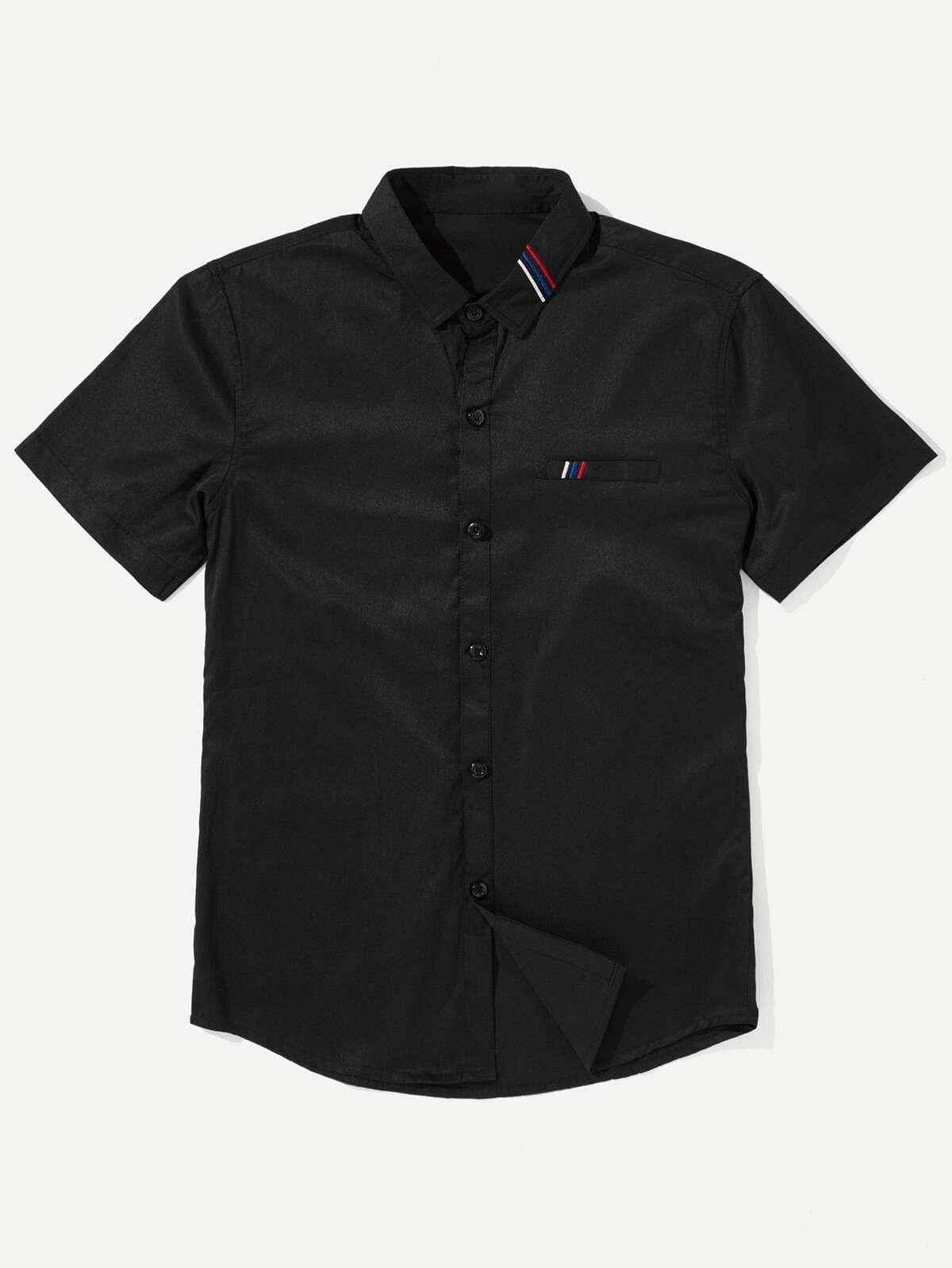 男人 條紋 刺繡的 襯衫