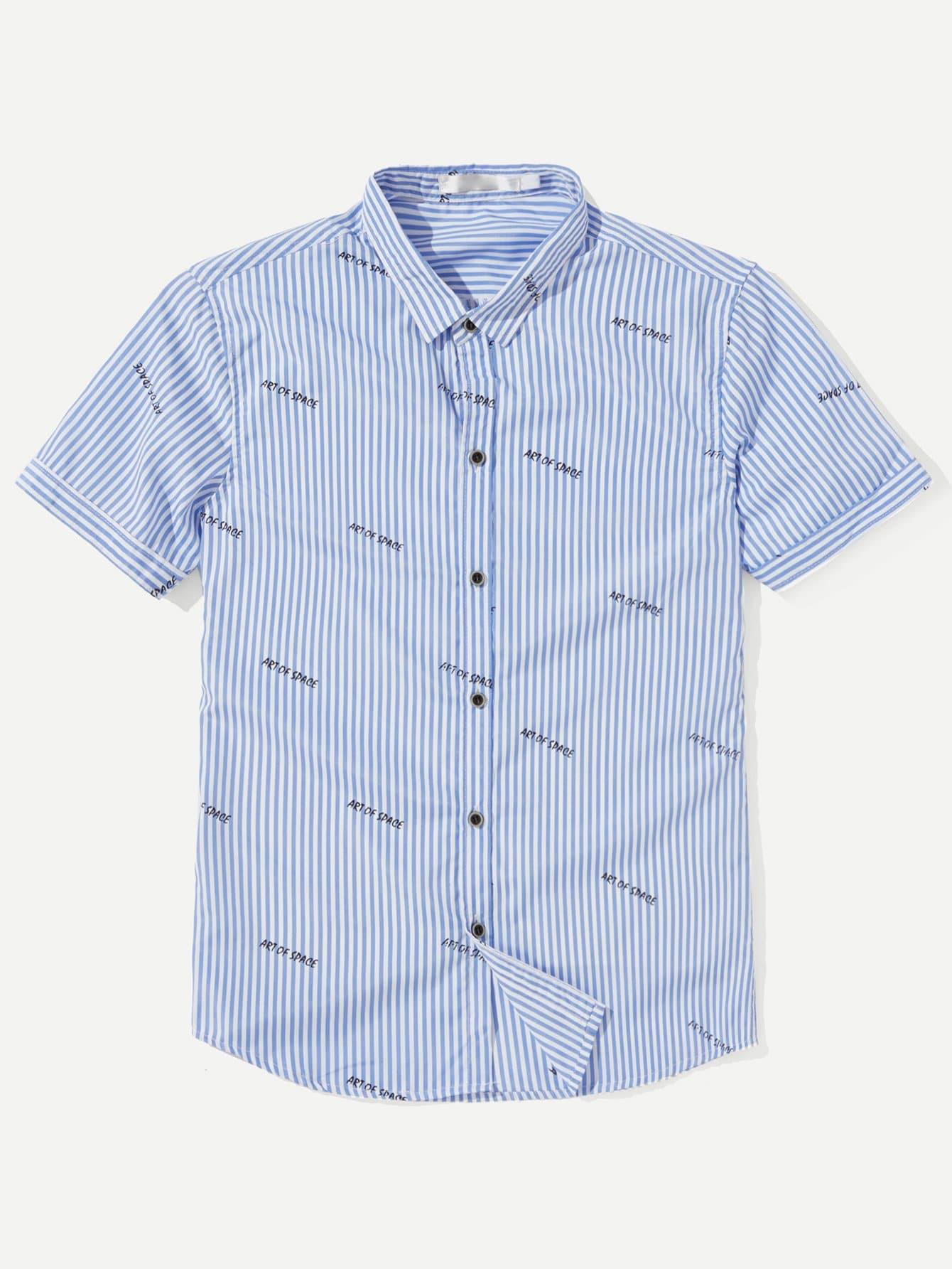 Купить Рубашка с полосками и надписью для мужчин, null, SheIn