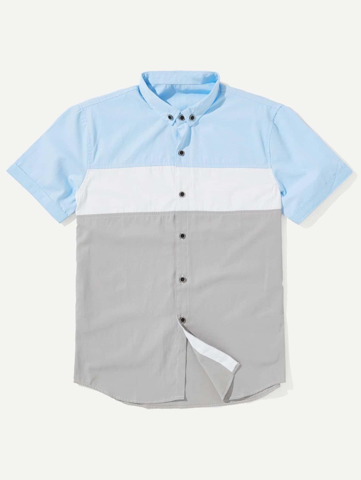 男人 剪裁 縫紉 拼接 襯衫