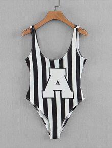 Block-Stripe U Back Bodysuit