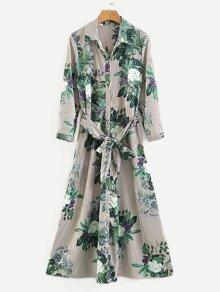 Foliage Print Striped Shirt Dress
