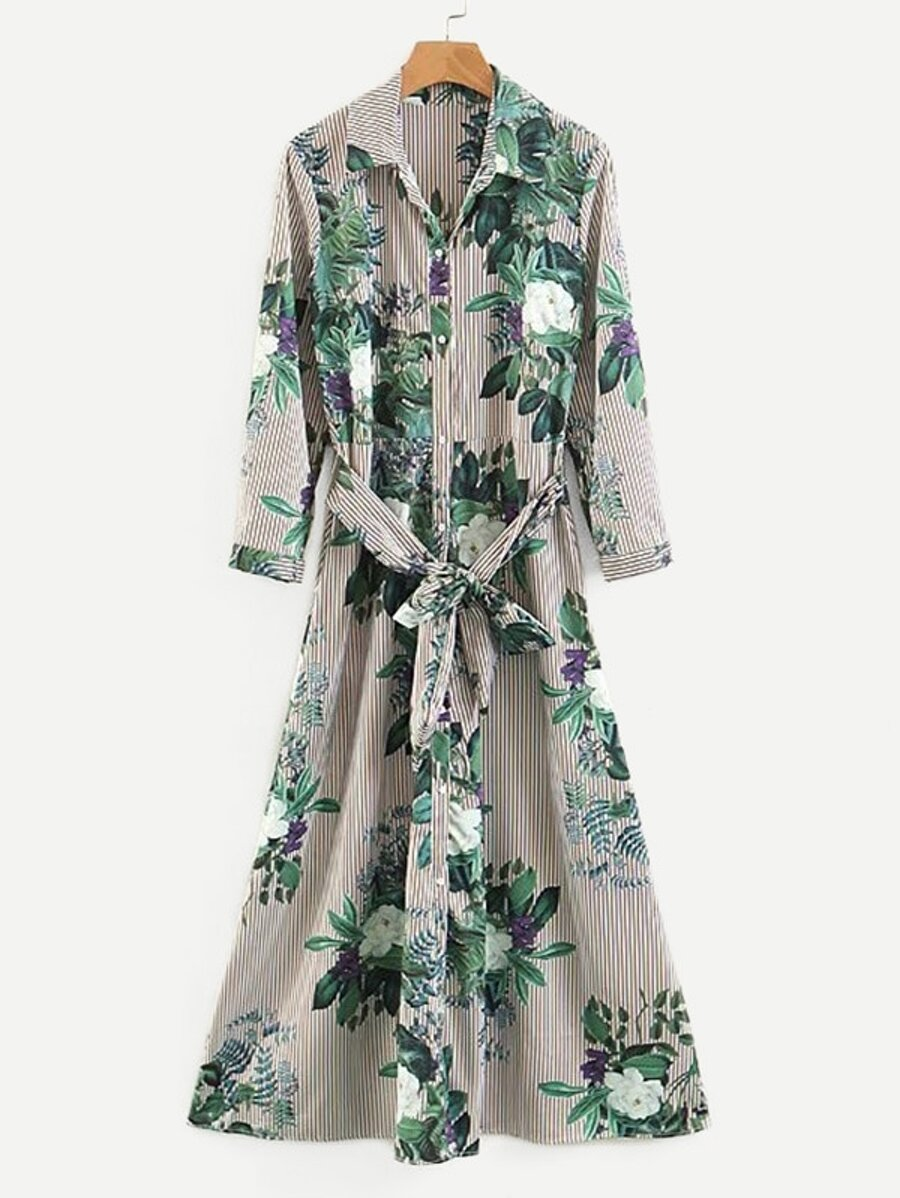 Foliage Print Striped Shirt Dress by Sheinside