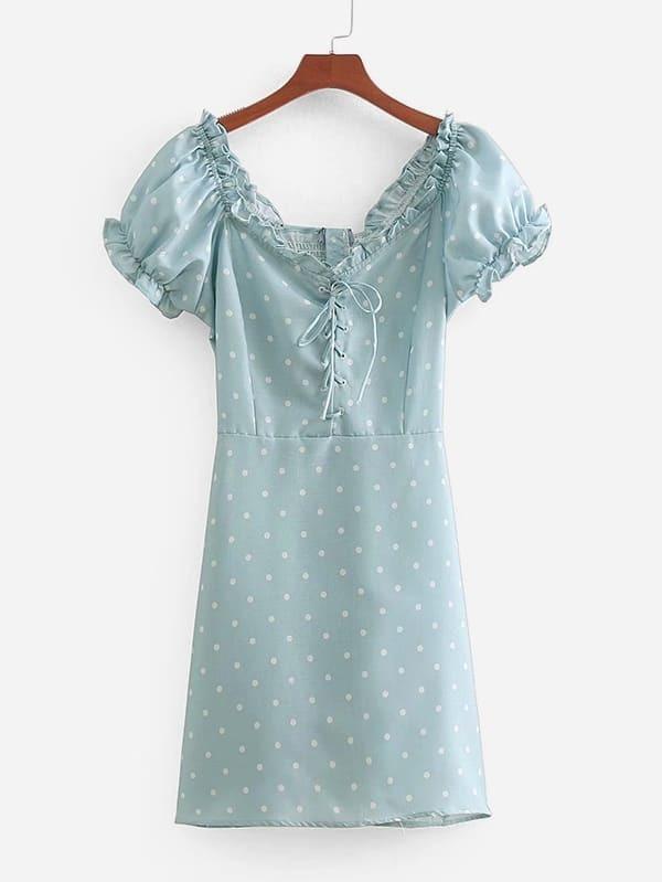 Frill Trim Lace Up Spot Dress by Sheinside