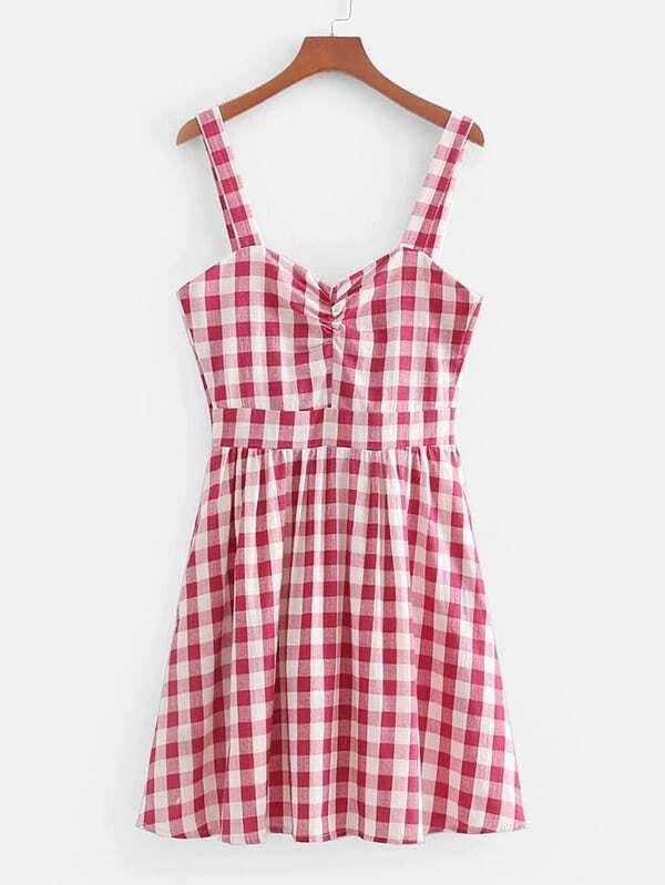 Check Plaid Zip Back Dress zip up back knot plaid top