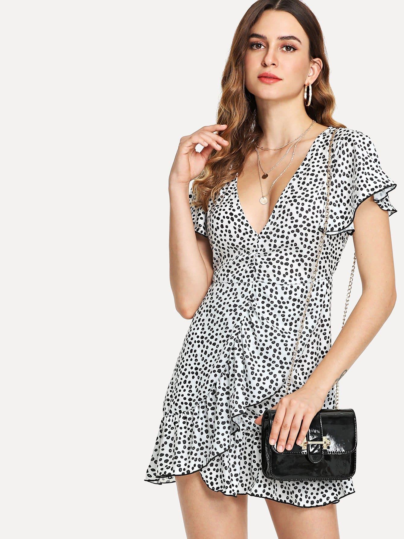 Ruffle Trim Overlap Front Dress overlap front m slit velvet dress