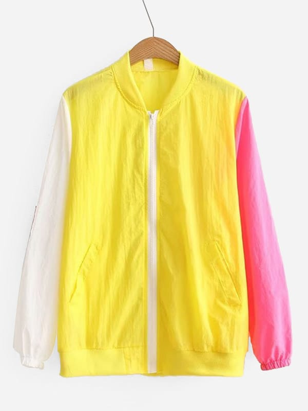 Contrast Sleeve Letter Tape Detail Jacket frill sleeve tape detail sweatshirt
