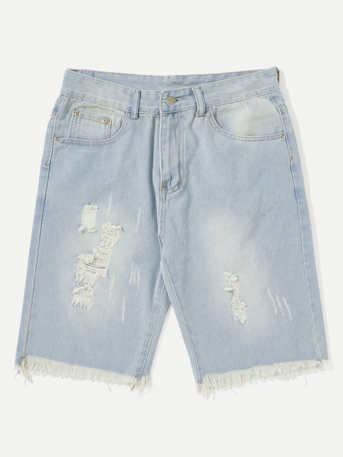 Men Ripped Fringe Hem Denim Shorts classic pocket styling fringe ripped denim shorts