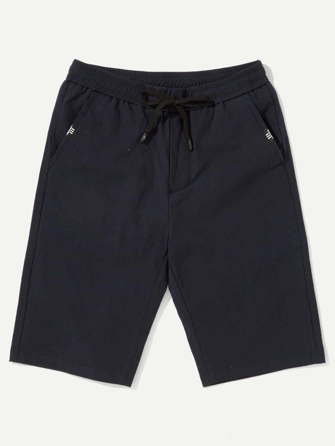 Men Drawstring Waist Denim Shorts drawstring waist frayed denim shorts