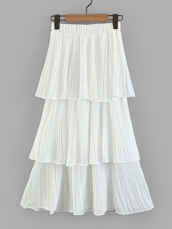 Tiered Ruffle Pleated Skirt