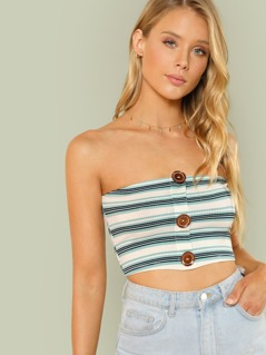 Stripe Ribbed Knit Tube Top