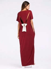Bow Tie Back Cut Out Hidden Pocket Dress