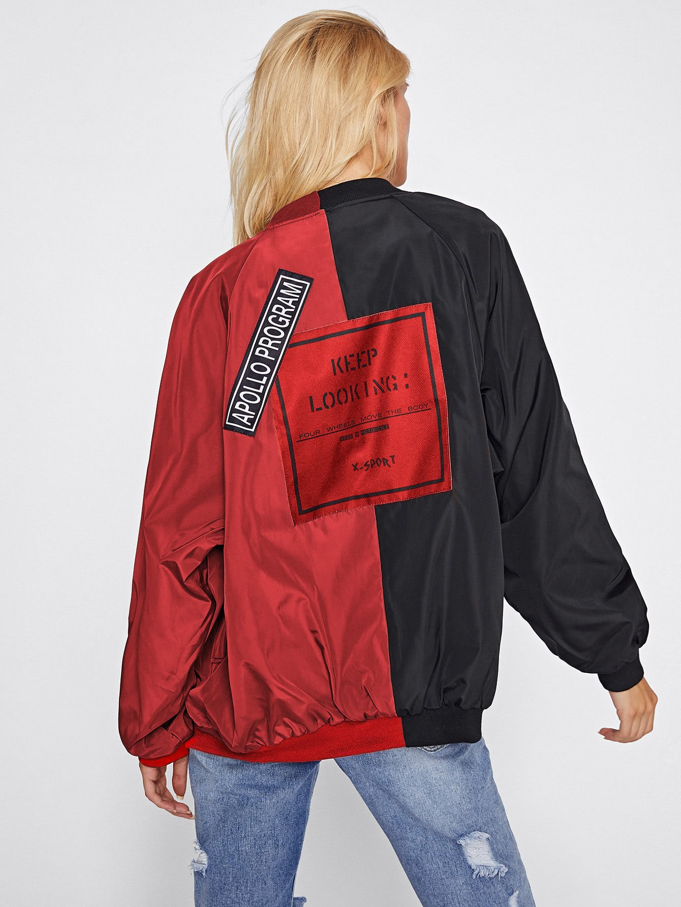 Two Tone Patch Back Letter Ribbon Detail Bomber Jacket letter print two tone bedding set
