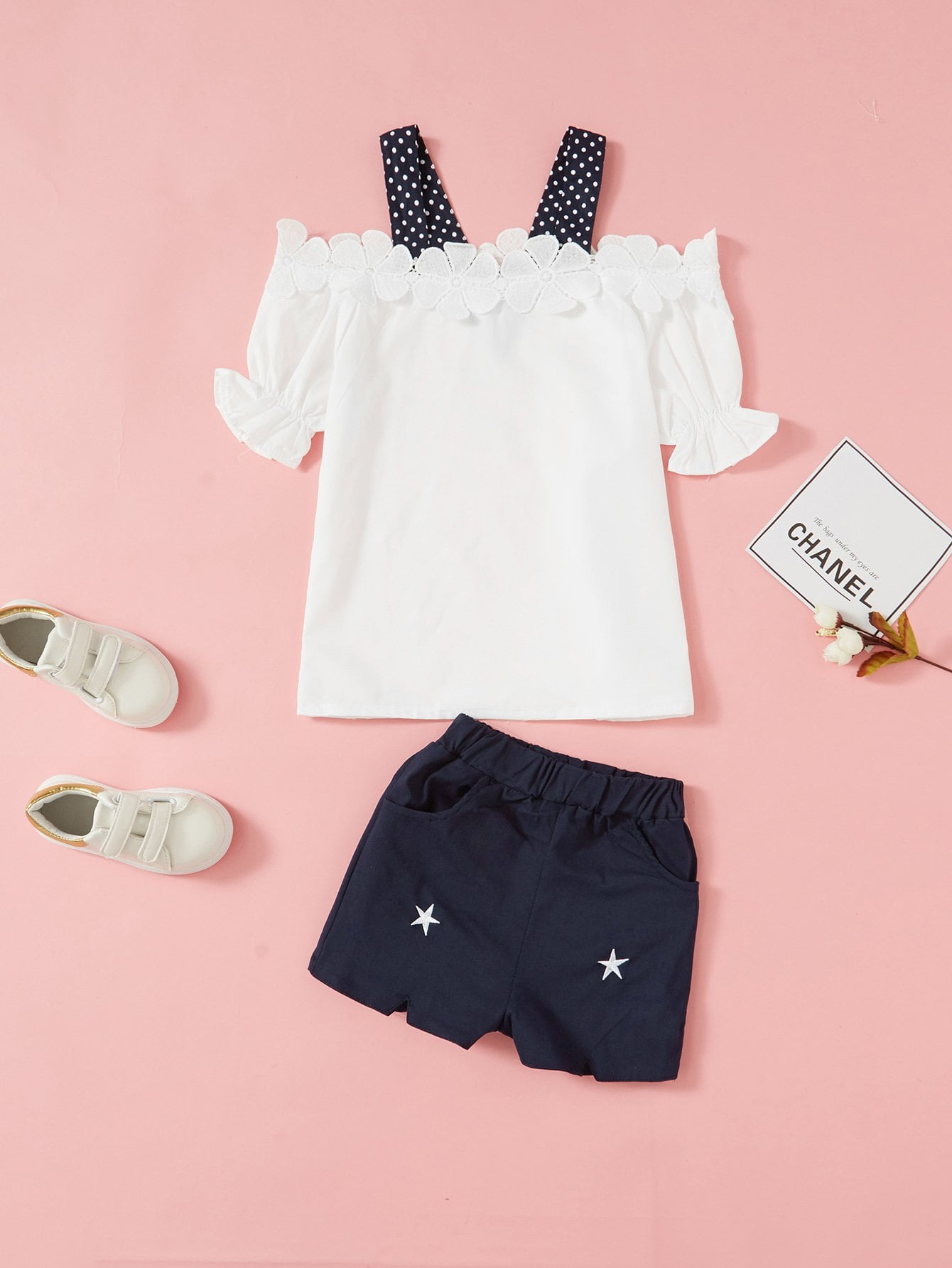 Kids Open Shoulder Lace Panel Top With Shorts