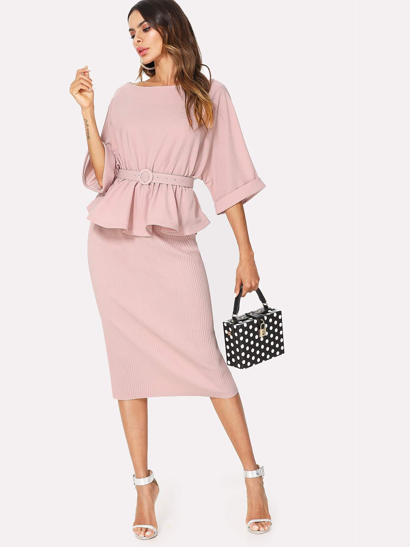 Ruffle Hem Blouse & Ribbed Skirt