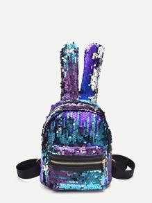 Pocket Front Sequins Backpack