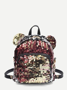 Pocket Front Sequins Backpack With Ear