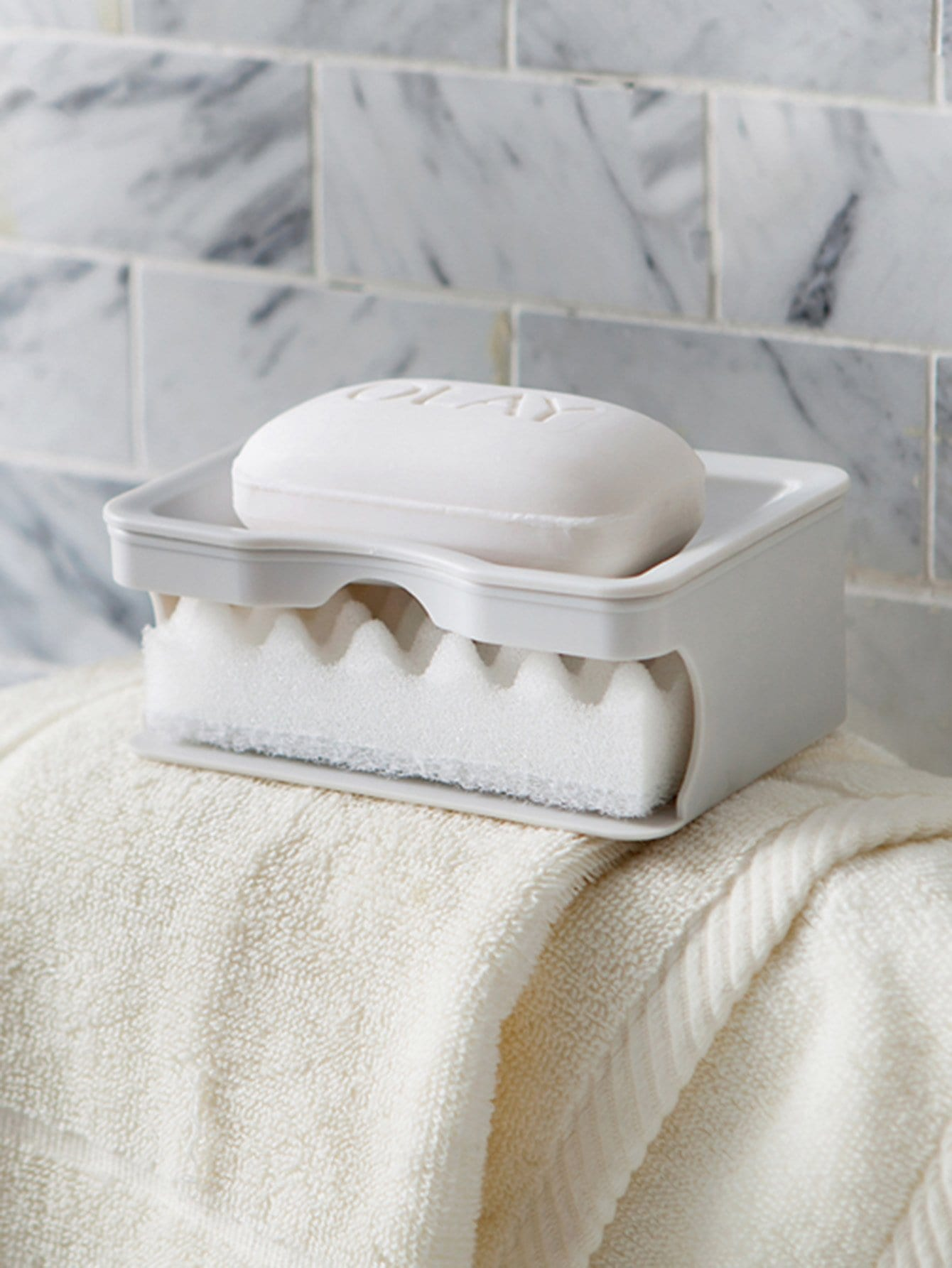 Draining Double Layered Soap Dish With Sponge draining soap dish with lid