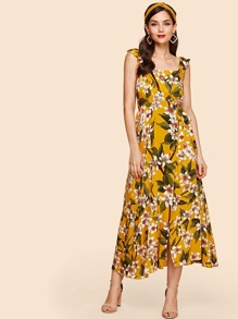 Frilled Strap Flower Print Dress