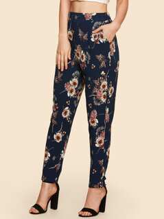 Flower Print Peg Leg Pants