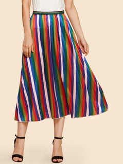 Vertical-Stripe Pleated Skirt