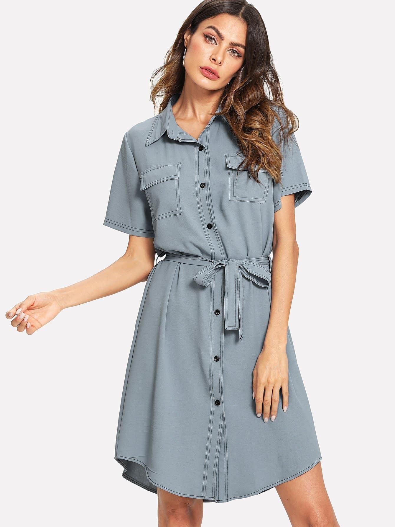Tie Waist Shirt Dress flower print tie waist shirt dress