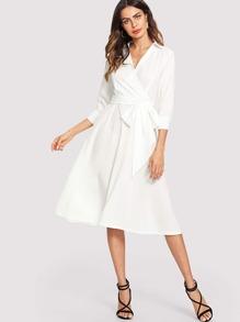 Surplice Wrap Self Tie Waist Dress