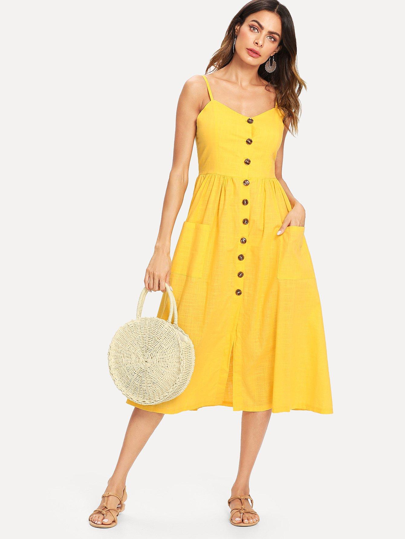 Button Front Cami Dress button front strap dress
