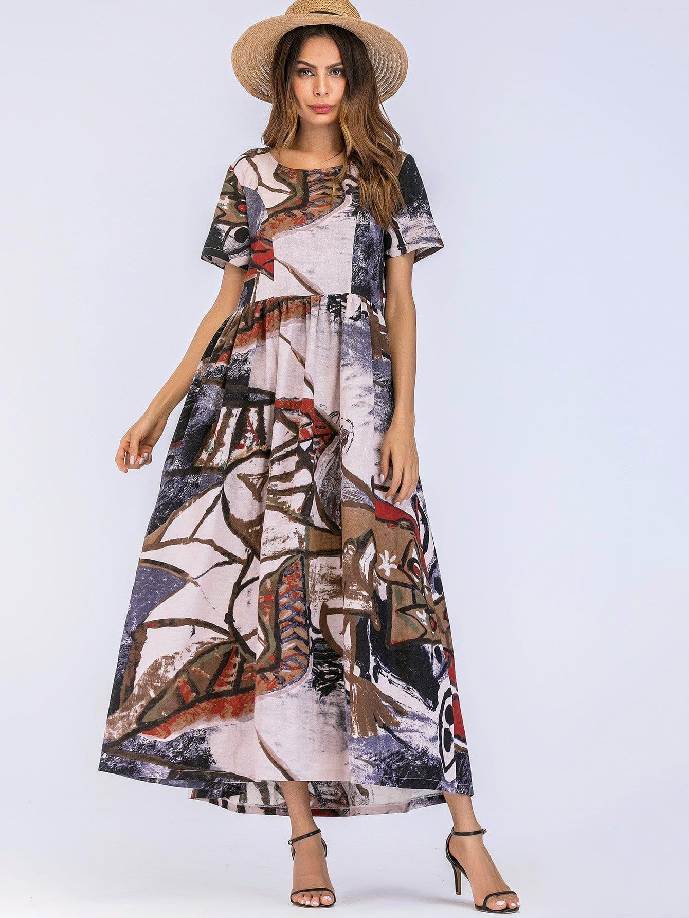 Graffiti Print Longline Dress landscape print longline dress