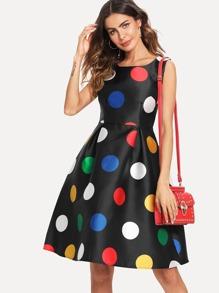 Dot Print Tank Dress