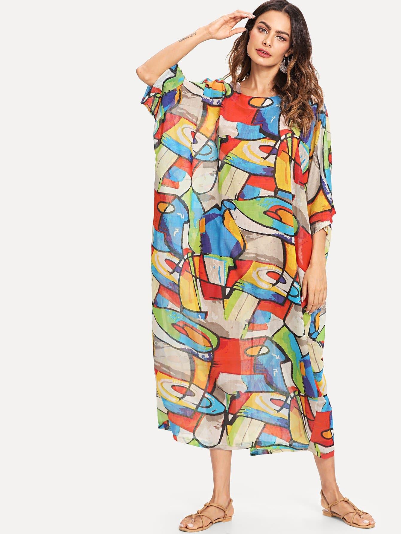 Graffiti Print Longline Dress tribal print longline dress