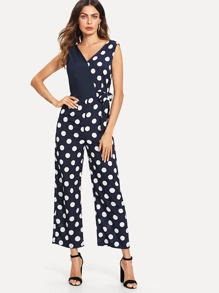 Tie Waist Dot Print Jumpsuit