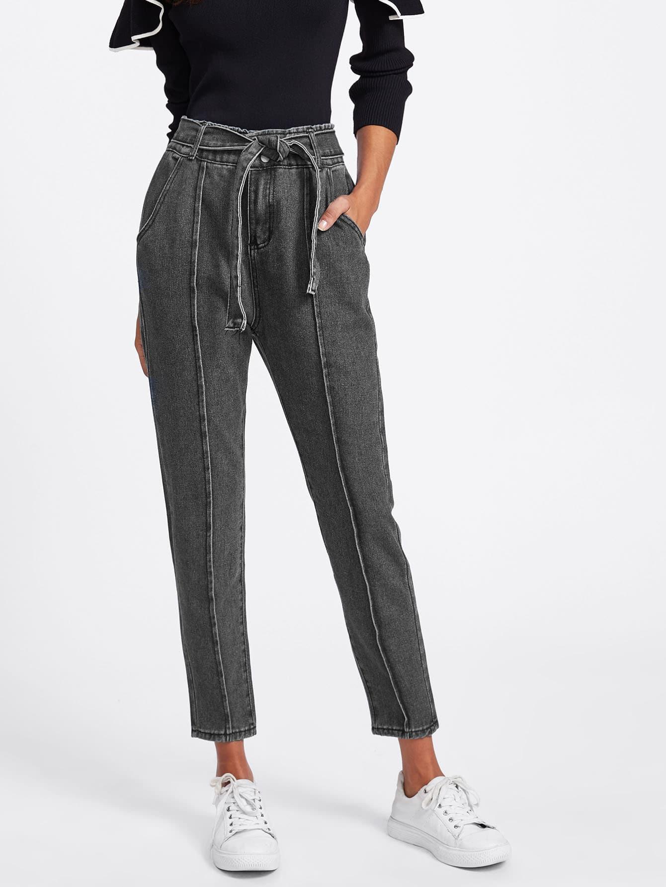 Seam Detail Self Tie Jeans tie waist seam front jeans