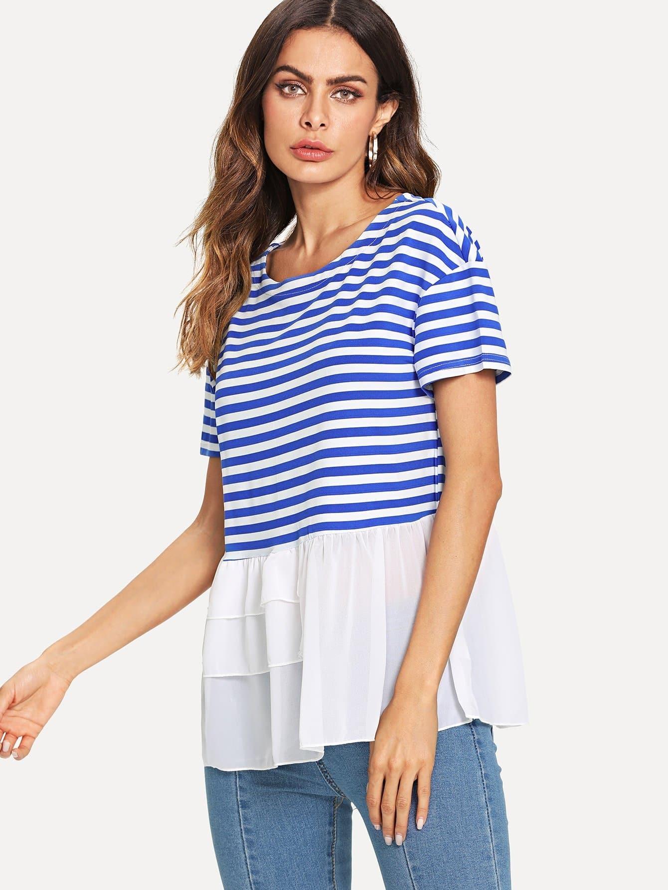 Chiffon Contrast Stripe Tee contrast stripe twist back crop tee