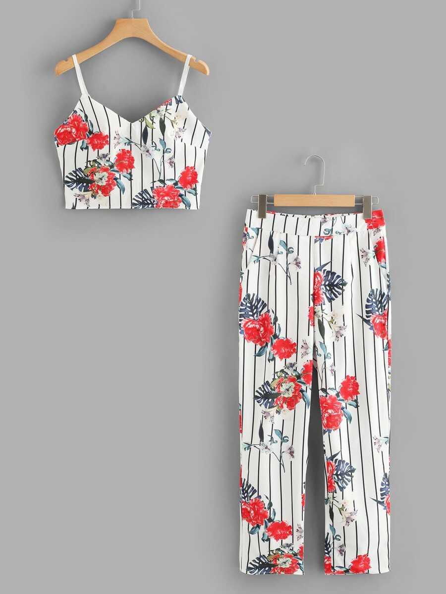 Floral Print Crop Top & Stripe Pants by Sheinside