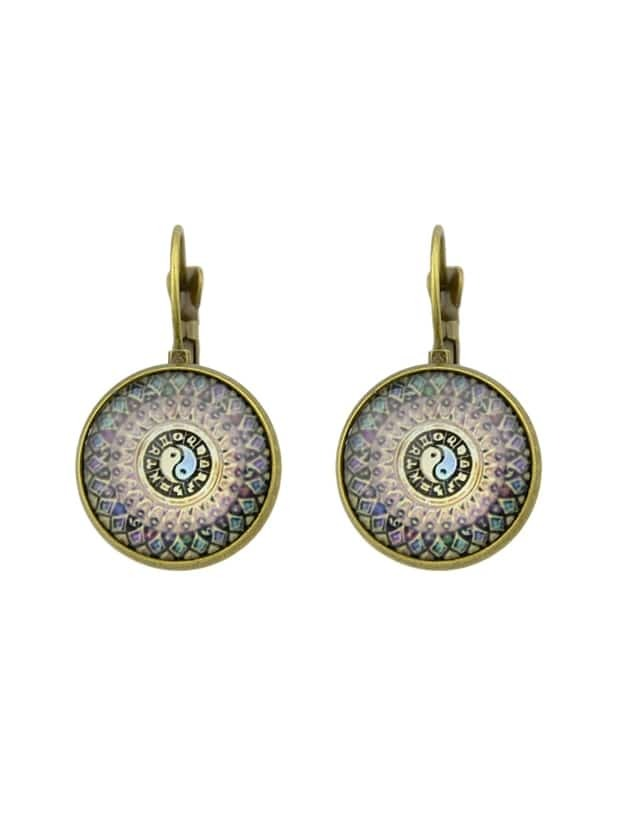Bronze Geometric Pattern Earrings