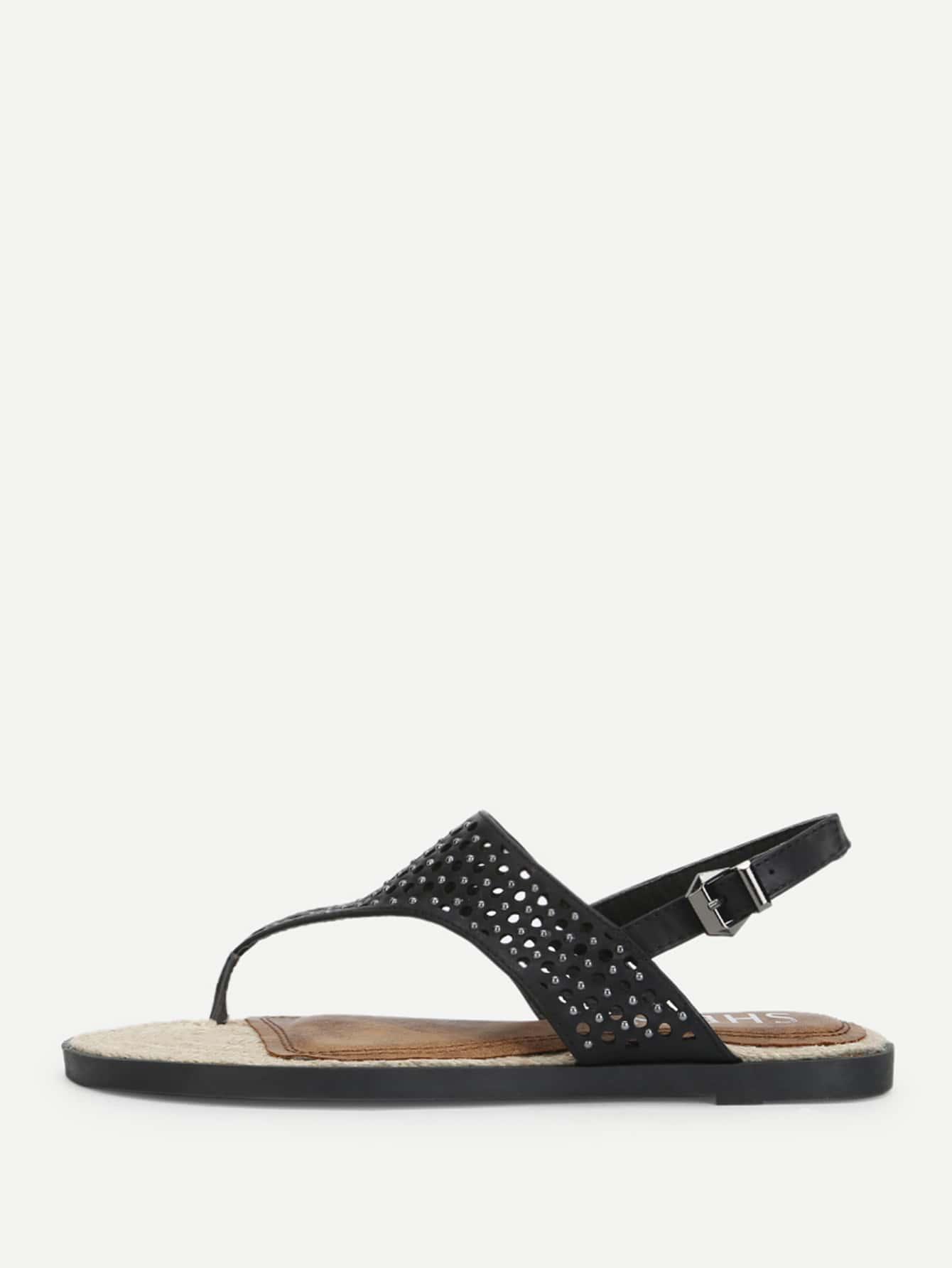 Cut Out Design Toe Post Sandals rhinestone design toe post sandals