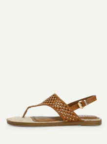 Cut Out Design Toe Post Sandals