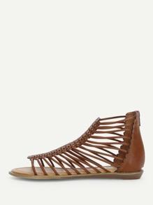Strappy Design Back Zipper Sandals