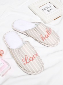 Letter Embroidery Striped Flat Slippers