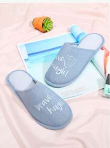 Letter Embroidery Flat Slippers