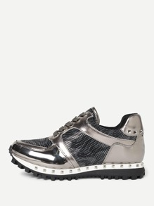 Studded Trim Metallic Panel Sneakers