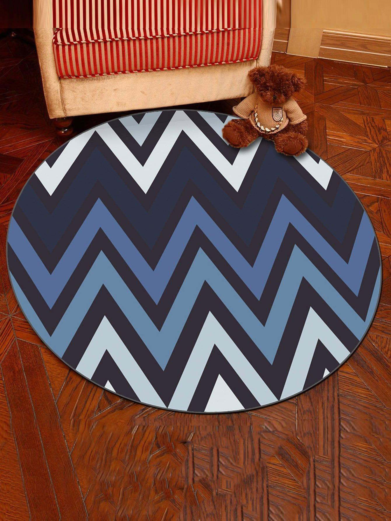 Zigzag Stripe Round Mat zigzag stripe zipper file holder